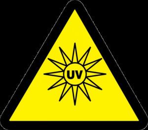 UV-C Testing Yellow Triangle with Sun Image